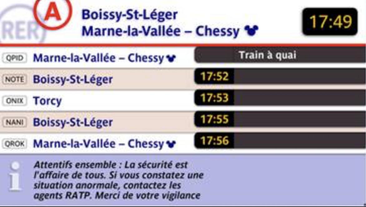Je souhaite aller à Torcy. Dans combien de temps sera le prochain train ?