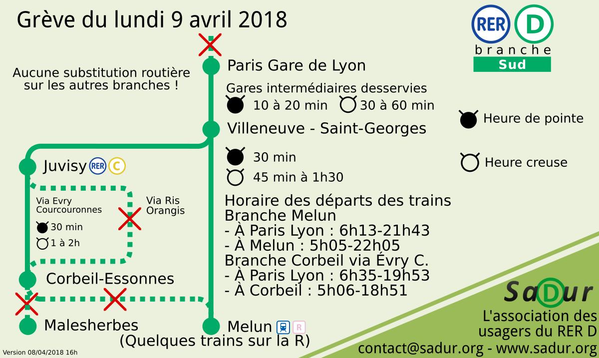 J'habite à la Gare de Lyon. Aujourd'hui, mon RER fait grève. Il est 8h06 et j'aimerais aller à Corbeil-Essonnes. A quelle heure arrivera le prochain train ?