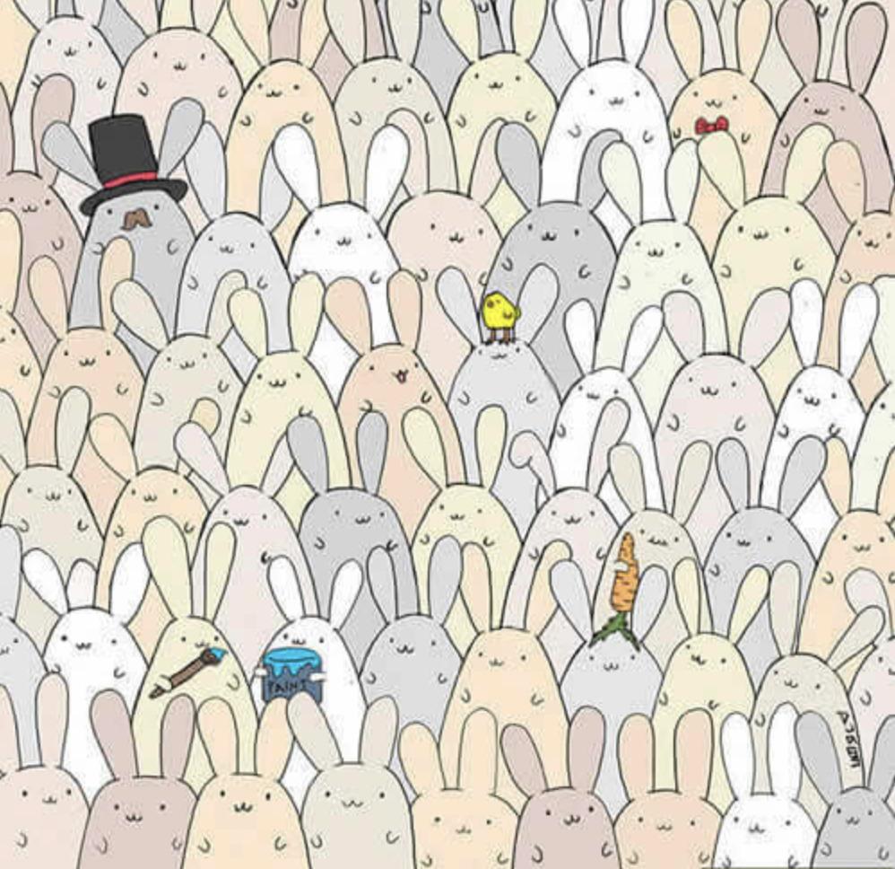 Dans le dessin ci-après, un oeuf s'est caché parmi les lapins. Où se trouve t-il ?