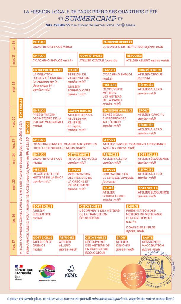 Programme Summer camp 2021